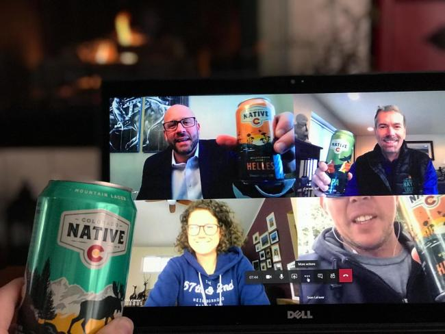 Team happy hour looks a bit different this week, but we made it happen. #tgif #teamacg . . . #coloradonative #coloradonativebeer #teamhappyhour #happyhour #virtualhappyhour #socialdistancing #onlyavailableincolorado #100percentcoloradoingredients #tgif